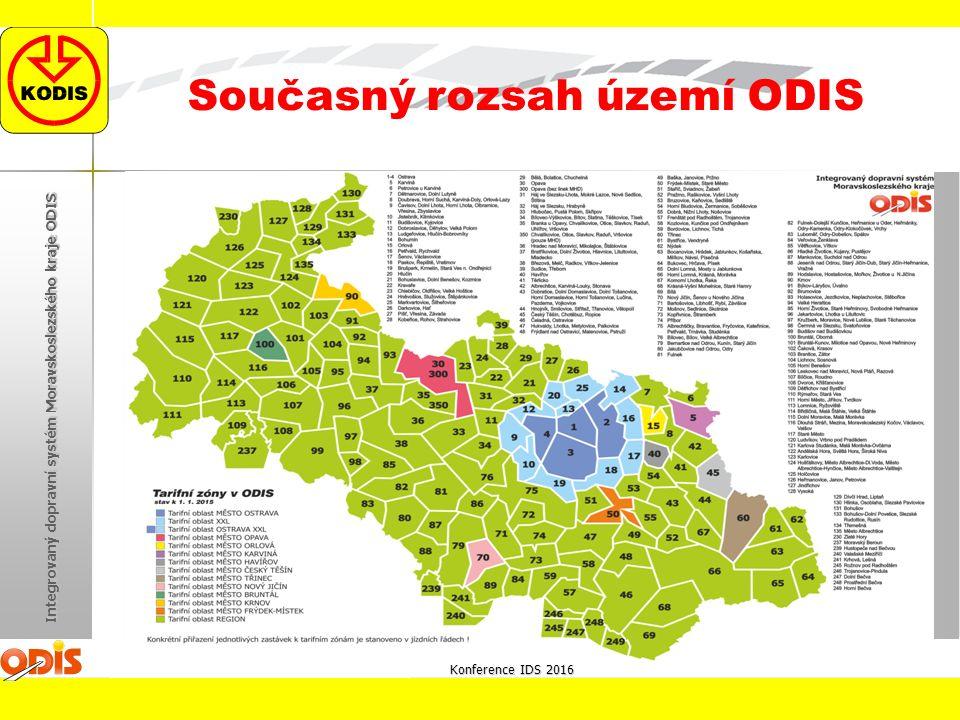 Konference IDS 2016 Integrovaný dopravní systém Moravskoslezského kraje ODIS Současný rozsah území ODIS