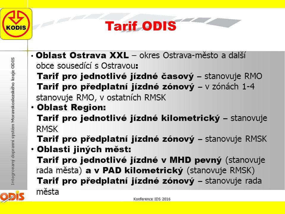 Konference IDS 2016 Integrovaný dopravní systém Moravskoslezského kraje ODIS Tarif ODIS Oblast Ostrava XXL – okres Ostrava-město a další obce sousedící s Ostravou : Tarif pro jednotlivé jízdné časový – stanovuje RMO Tarif pro předplatní jízdné zónový – v zónách 1-4 stanovuje RMO, v ostatních RMSK Oblast Region: Tarif pro jednotlivé jízdné kilometrický – stanovuje RMSK Tarif pro předplatní jízdné zónový – stanovuje RMSK Oblasti jiných měst: Tarif pro jednotlivé jízdné v MHD pevný (stanovuje rada města) a v PAD kilometrický (stanovuje RMSK) Tarif pro předplatní jízdné zónový – stanovuje rada města
