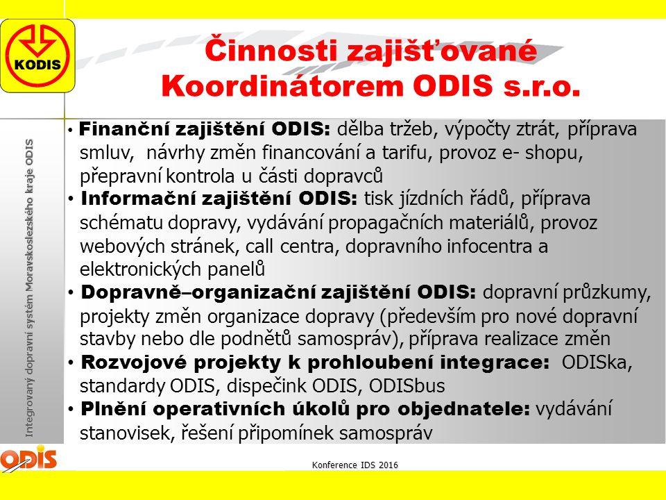 Konference IDS 2016 Integrovaný dopravní systém Moravskoslezského kraje ODIS Činnosti zajišťované Koordinátorem ODIS s.r.o. Finanční zajištění ODIS: d