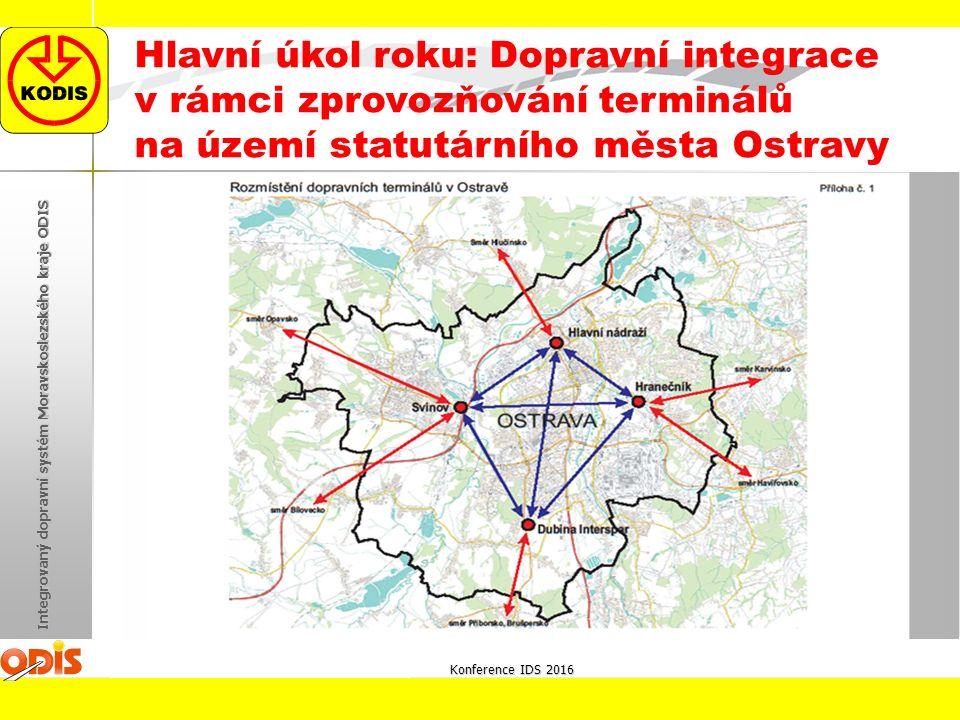 Konference IDS 2016 Integrovaný dopravní systém Moravskoslezského kraje ODIS Hlavní úkol roku: Dopravní integrace v rámci zprovozňování terminálů na ú