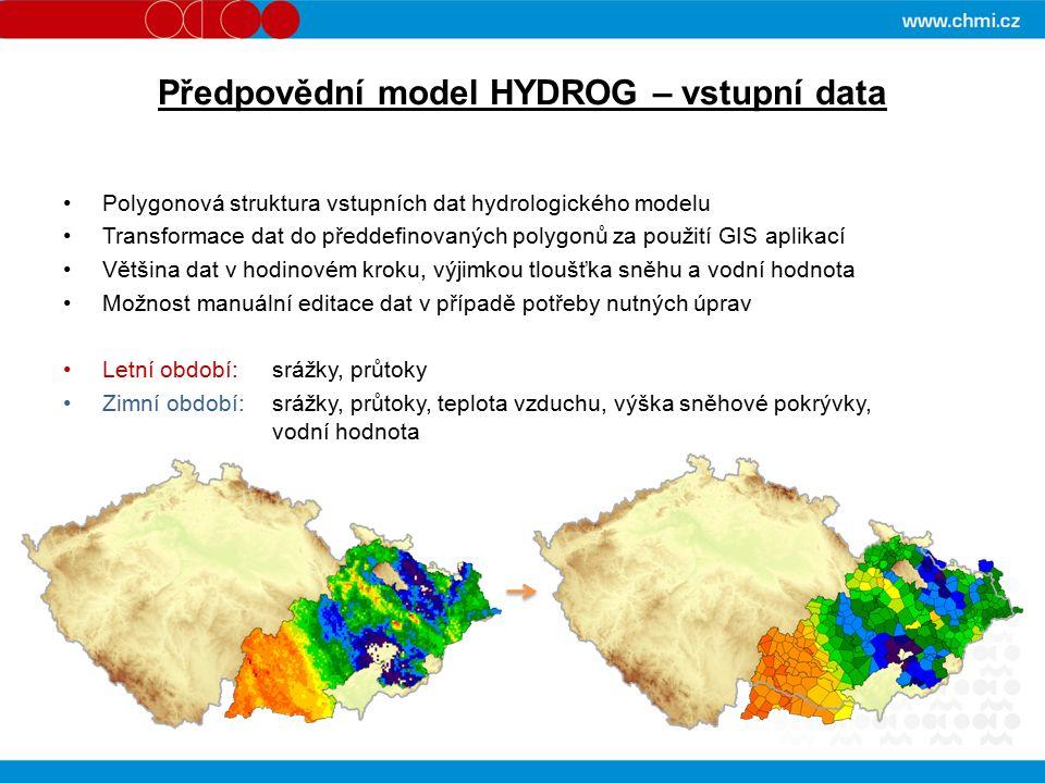 Předpovědní model HYDROG – vstupní data Polygonová struktura vstupních dat hydrologického modelu Transformace dat do předdefinovaných polygonů za použití GIS aplikací Většina dat v hodinovém kroku, výjimkou tloušťka sněhu a vodní hodnota Možnost manuální editace dat v případě potřeby nutných úprav Letní období: srážky, průtoky Zimní období: srážky, průtoky, teplota vzduchu, výška sněhové pokrývky, vodní hodnota