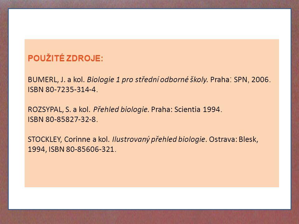 POUŽITÉ ZDROJE: BUMERL, J. a kol. Biologie 1 pro střední odborné školy.