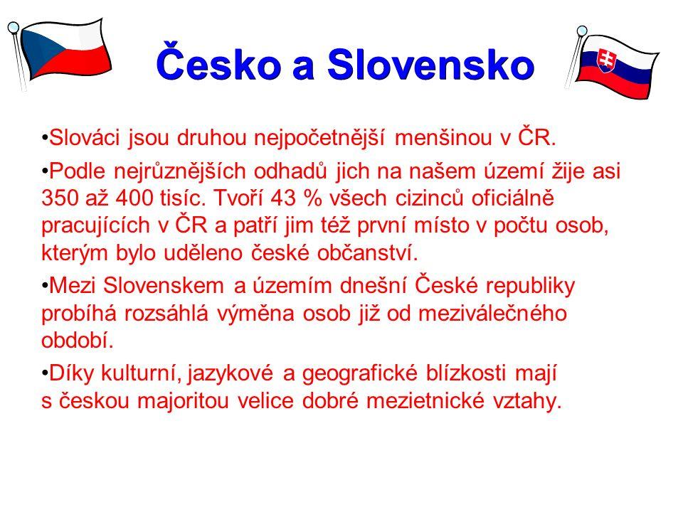 Česko a Slovensko Česko a Slovensko Slováci jsou druhou nejpočetnější menšinou v ČR. Podle nejrůznějších odhadů jich na našem území žije asi 350 až 40