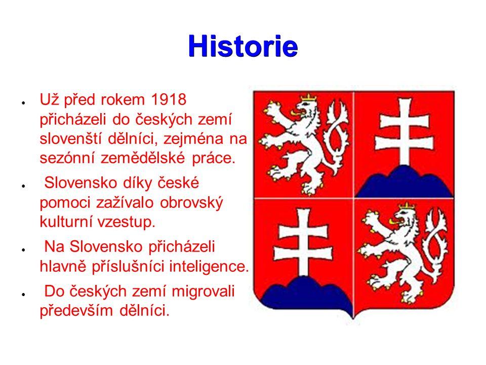 Historie ● Už před rokem 1918 přicházeli do českých zemí slovenští dělníci, zejména na sezónní zemědělské práce. ● Slovensko díky české pomoci zažíval