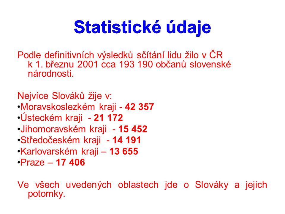 Statistické údaje Podle definitivních výsledků sčítání lidu žilo v ČR k 1. březnu 2001 cca 193 190 občanů slovenské národnosti. Nejvíce Slováků žije v