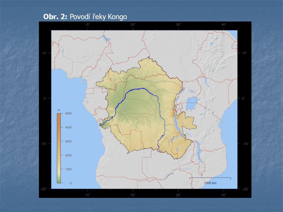 Obr. 2: Povodí řeky Kongo
