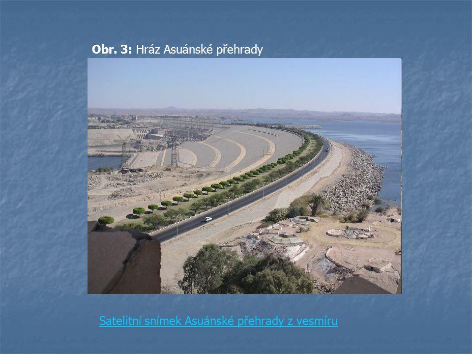 Obr. 3: Hráz Asuánské přehrady Satelitní snímek Asuánské přehrady z vesmíru