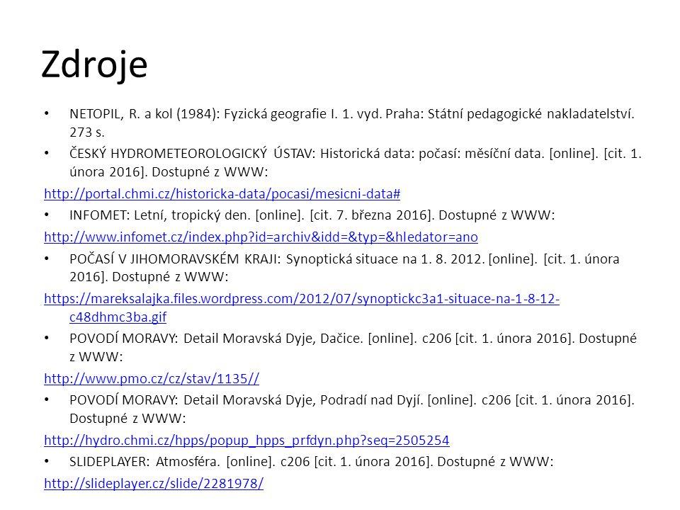 Zdroje NETOPIL, R. a kol (1984): Fyzická geografie I.