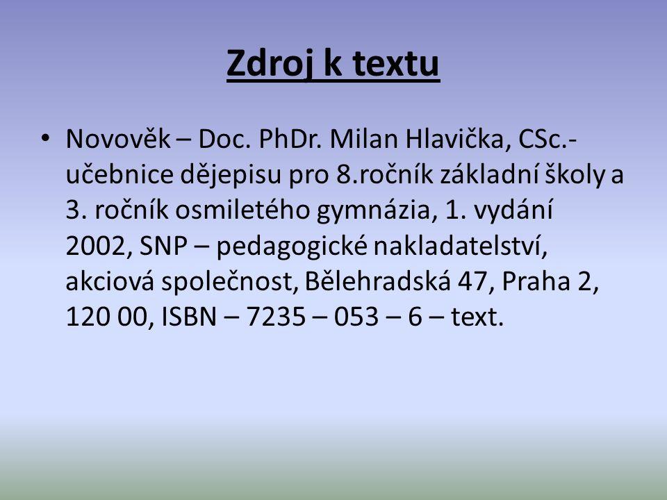 Zdroj k textu Novověk – Doc. PhDr.