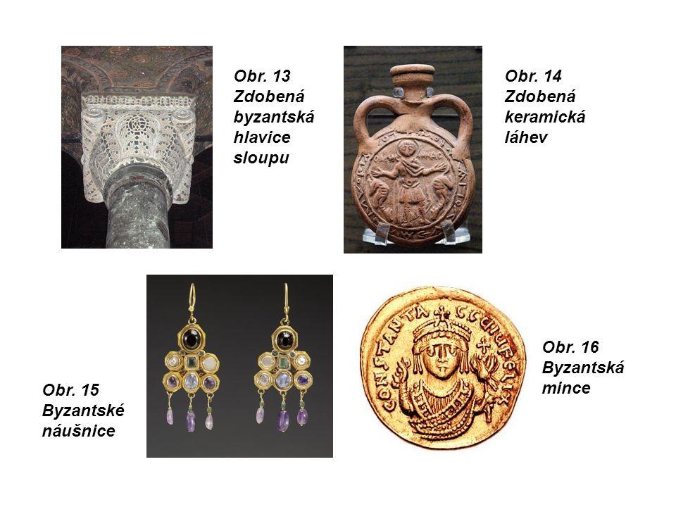 Obr.13 Zdobená byzantská hlavice sloupu Obr. 14 Zdobená keramická láhev Obr.