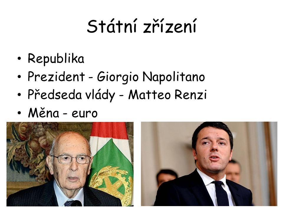 Státní zřízení Republika Prezident - Giorgio Napolitano Předseda vlády - Matteo Renzi Měna - euro