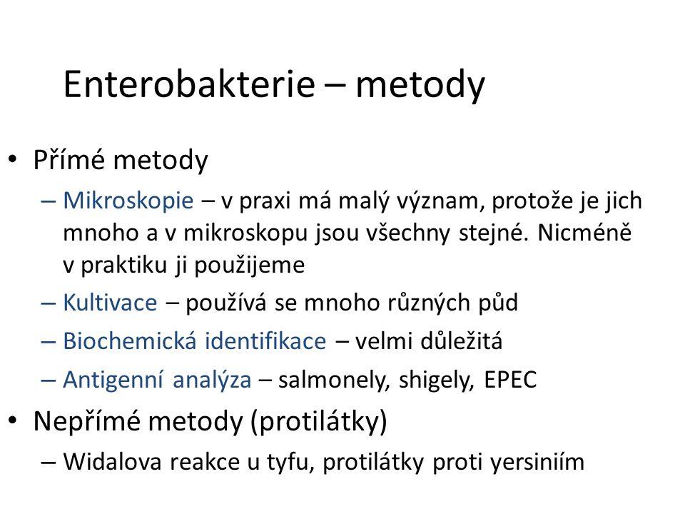 Enterobakterie – metody Přímé metody – Mikroskopie – v praxi má malý význam, protože je jich mnoho a v mikroskopu jsou všechny stejné.