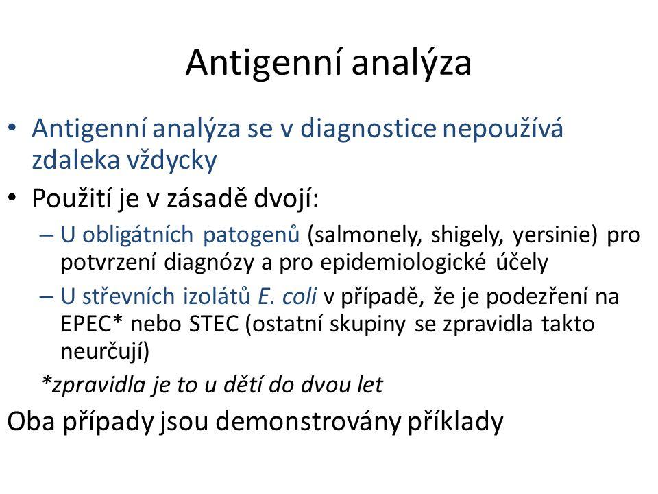 Antigenní analýza Antigenní analýza se v diagnostice nepoužívá zdaleka vždycky Použití je v zásadě dvojí: – U obligátních patogenů (salmonely, shigely, yersinie) pro potvrzení diagnózy a pro epidemiologické účely – U střevních izolátů E.