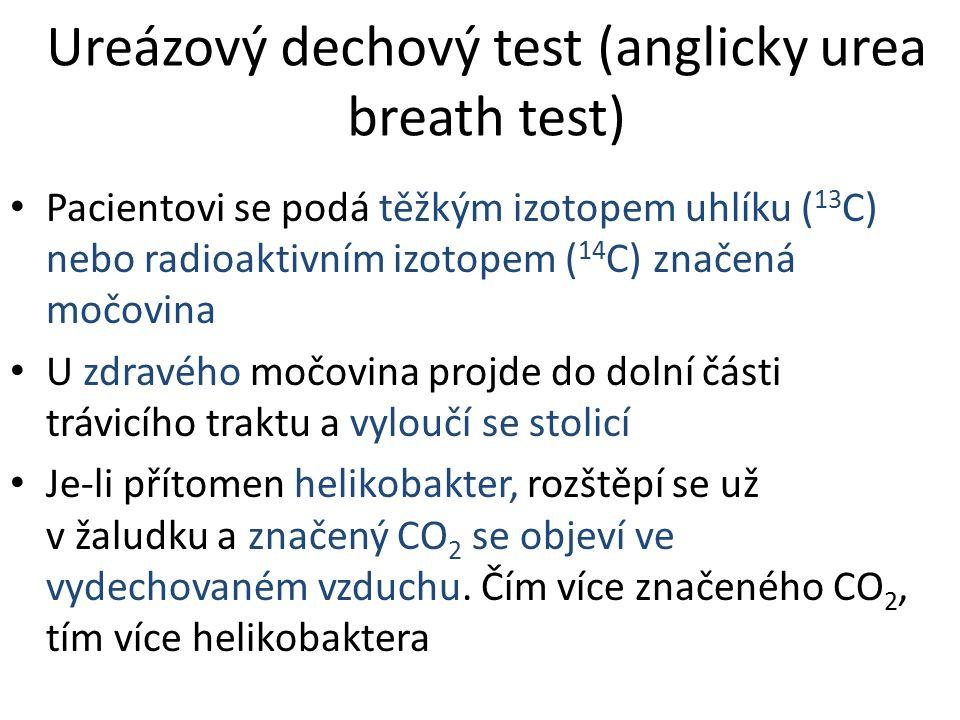 Ureázový dechový test (anglicky urea breath test) Pacientovi se podá těžkým izotopem uhlíku ( 13 C) nebo radioaktivním izotopem ( 14 C) značená močovina U zdravého močovina projde do dolní části trávicího traktu a vyloučí se stolicí Je-li přítomen helikobakter, rozštěpí se už v žaludku a značený CO 2 se objeví ve vydechovaném vzduchu.