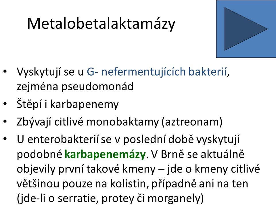 Metalobetalaktamázy Vyskytují se u G- nefermentujících bakterií, zejména pseudomonád Štěpí i karbapenemy Zbývají citlivé monobaktamy (aztreonam) U enterobakterií se v poslední době vyskytují podobné karbapenemázy.