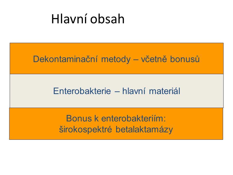 Hlavní obsah Dekontaminační metody – včetně bonusů Enterobakterie – hlavní materiál Bonus k enterobakteriím: širokospektré betalaktamázy