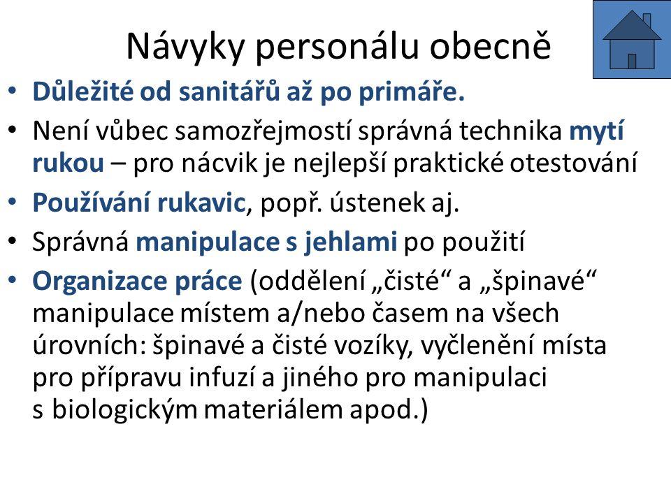 Návyky personálu obecně Důležité od sanitářů až po primáře.