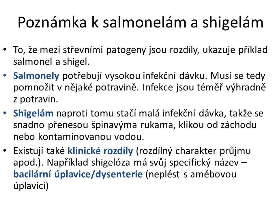 Poznámka k salmonelám a shigelám To, že mezi střevními patogeny jsou rozdíly, ukazuje příklad salmonel a shigel.