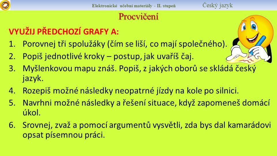 Procvičení Elektronické učební materiály - II. stupeň Český jazyk VYUŽIJ PŘEDCHOZÍ GRAFY A: 1.Porovnej tři spolužáky (čím se liší, co mají společného)