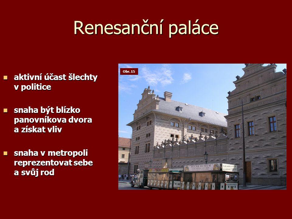 Renesanční paláce aktivní účast šlechty v politice aktivní účast šlechty v politice snaha být blízko panovníkova dvora a získat vliv snaha být blízko