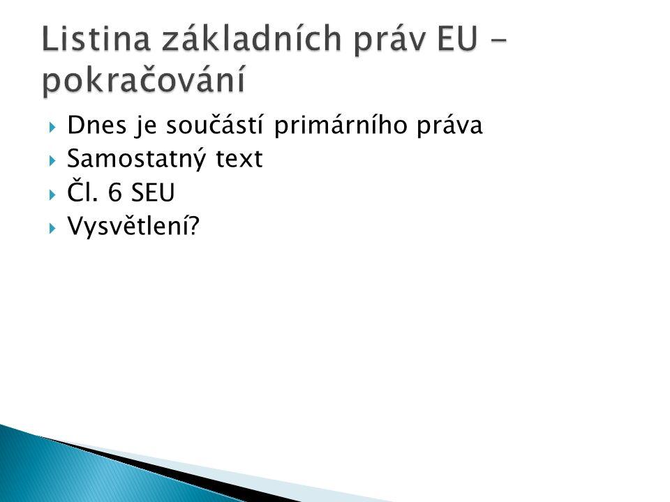  Dnes je součástí primárního práva  Samostatný text  Čl. 6 SEU  Vysvětlení