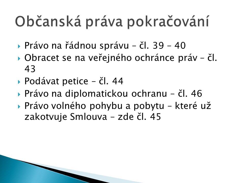  Právo na řádnou správu – čl. 39 – 40  Obracet se na veřejného ochránce práv – čl.