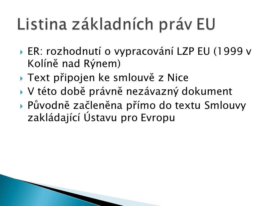  ER: rozhodnutí o vypracování LZP EU (1999 v Kolíně nad Rýnem)  Text připojen ke smlouvě z Nice  V této době právně nezávazný dokument  Původně začleněna přímo do textu Smlouvy zakládající Ústavu pro Evropu