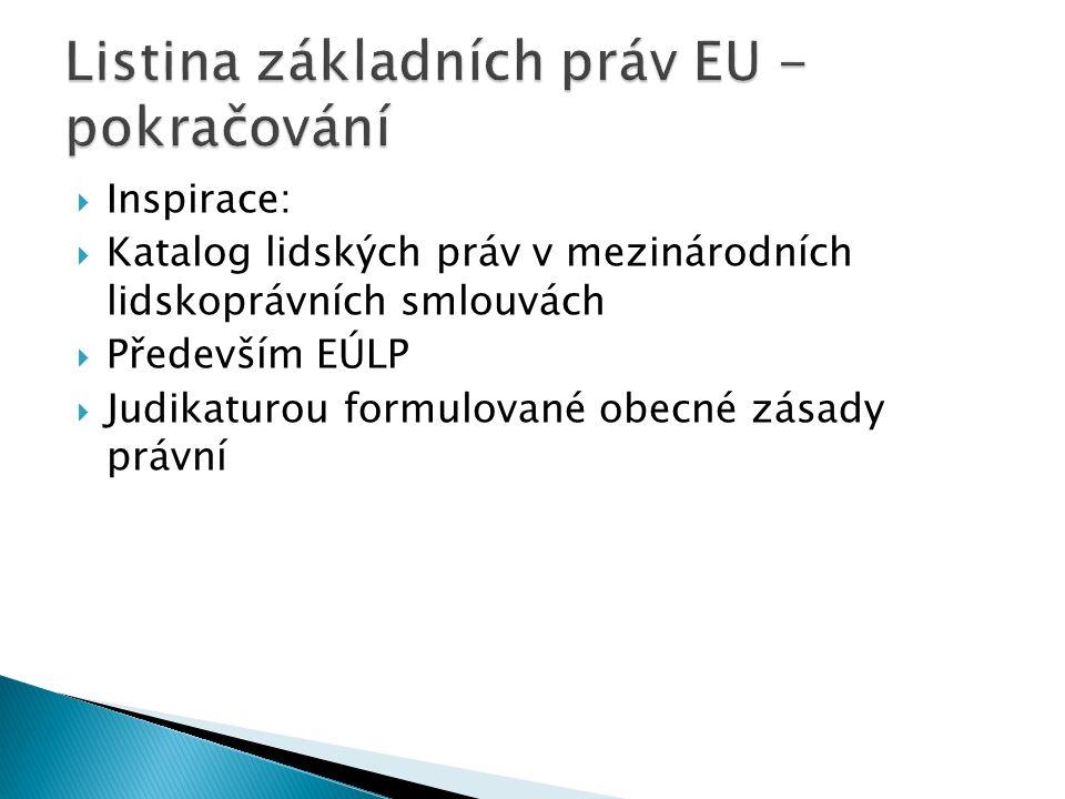  Inspirace:  Katalog lidských práv v mezinárodních lidskoprávních smlouvách  Především EÚLP  Judikaturou formulované obecné zásady právní