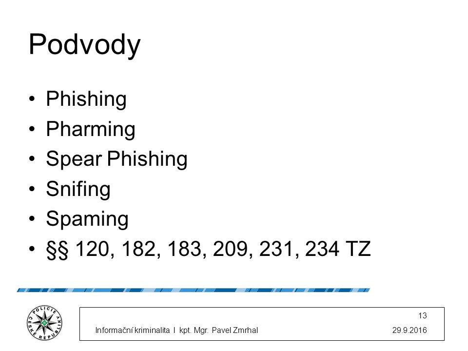 Podvody Phishing Pharming Spear Phishing Snifing Spaming §§ 120, 182, 183, 209, 231, 234 TZ 29.9.2016Informační kriminalita l kpt.