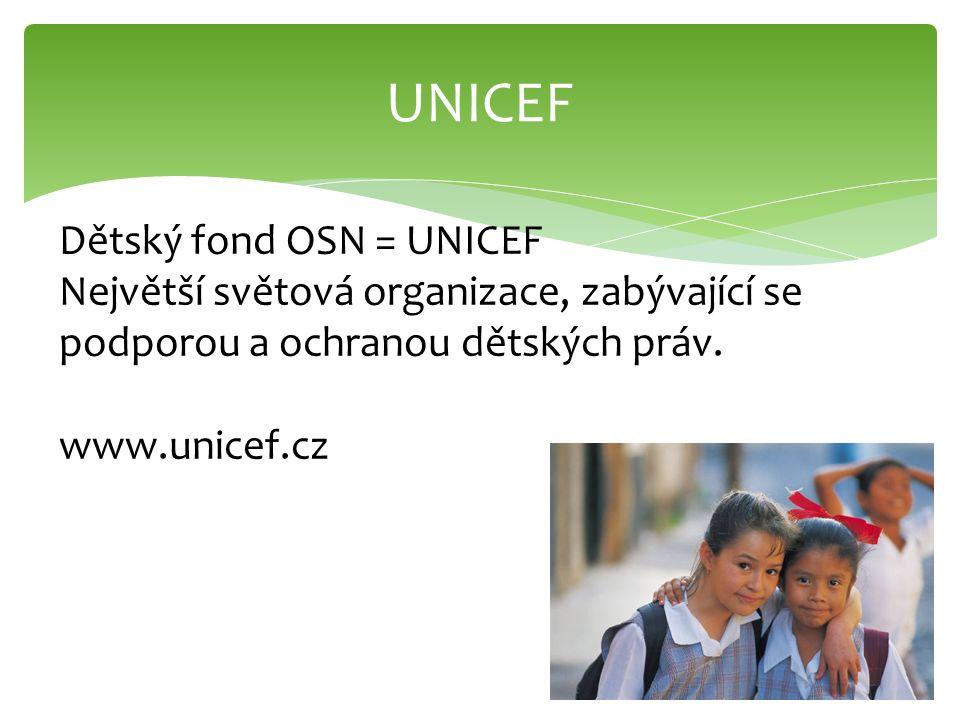 UNICEF Dětský fond OSN = UNICEF Největší světová organizace, zabývající se podporou a ochranou dětských práv. www.unicef.cz