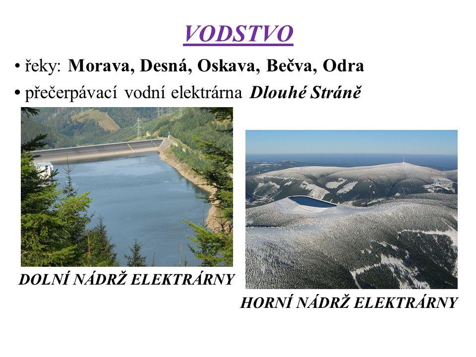 VODSTVO řeky: Morava, Desná, Oskava, Bečva, Odra přečerpávací vodní elektrárna Dlouhé Stráně DOLNÍ NÁDRŽ ELEKTRÁRNY HORNÍ NÁDRŽ ELEKTRÁRNY