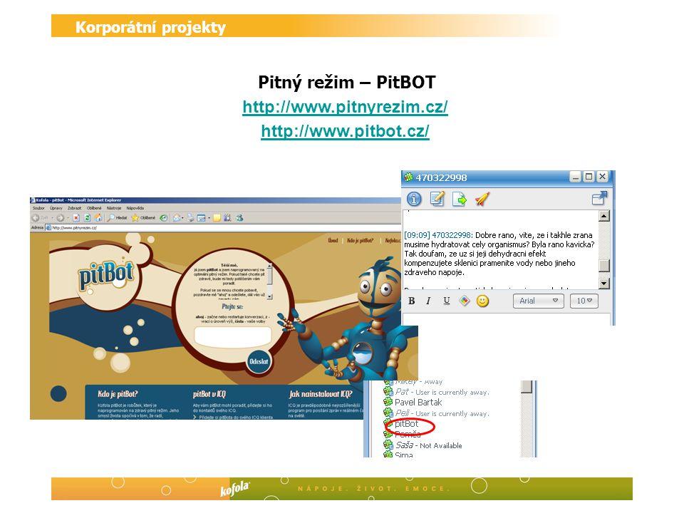 Korporátní projekty Pitný režim – PitBOT http://www.pitnyrezim.cz/ http://www.pitbot.cz/