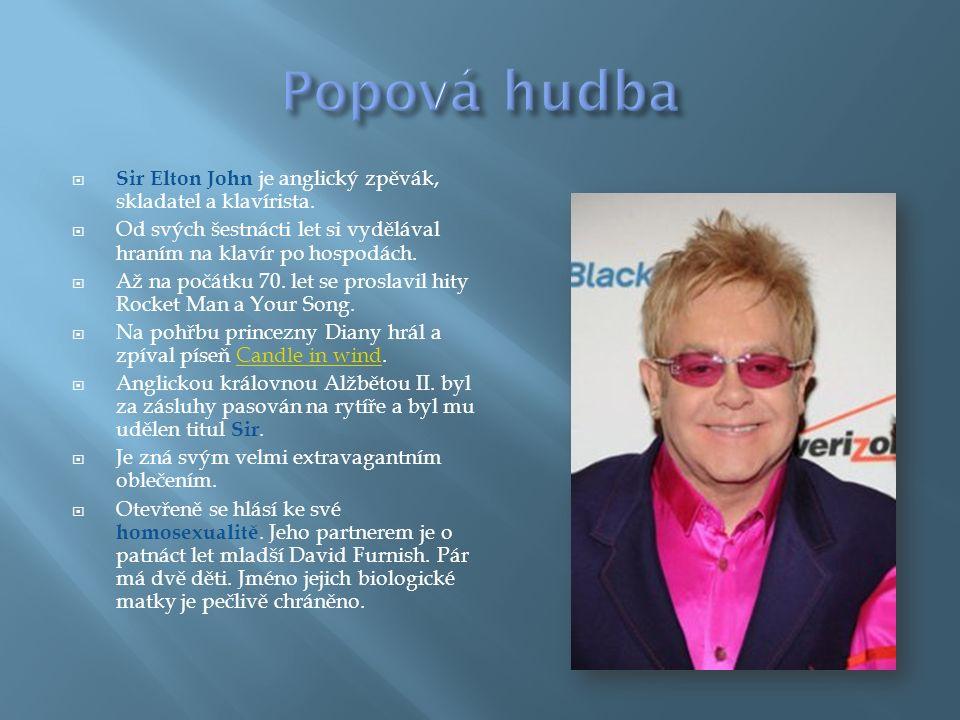  Sir Elton John je anglický zpěvák, skladatel a klavírista.  Od svých šestnácti let si vydělával hraním na klavír po hospodách.  Až na počátku 70.