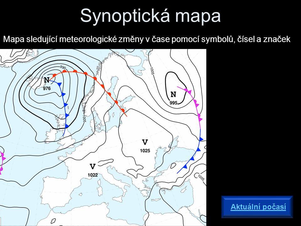 Synoptická mapa Mapa sledující meteorologické změny v čase pomocí symbolů, čísel a značek Aktuální počasí
