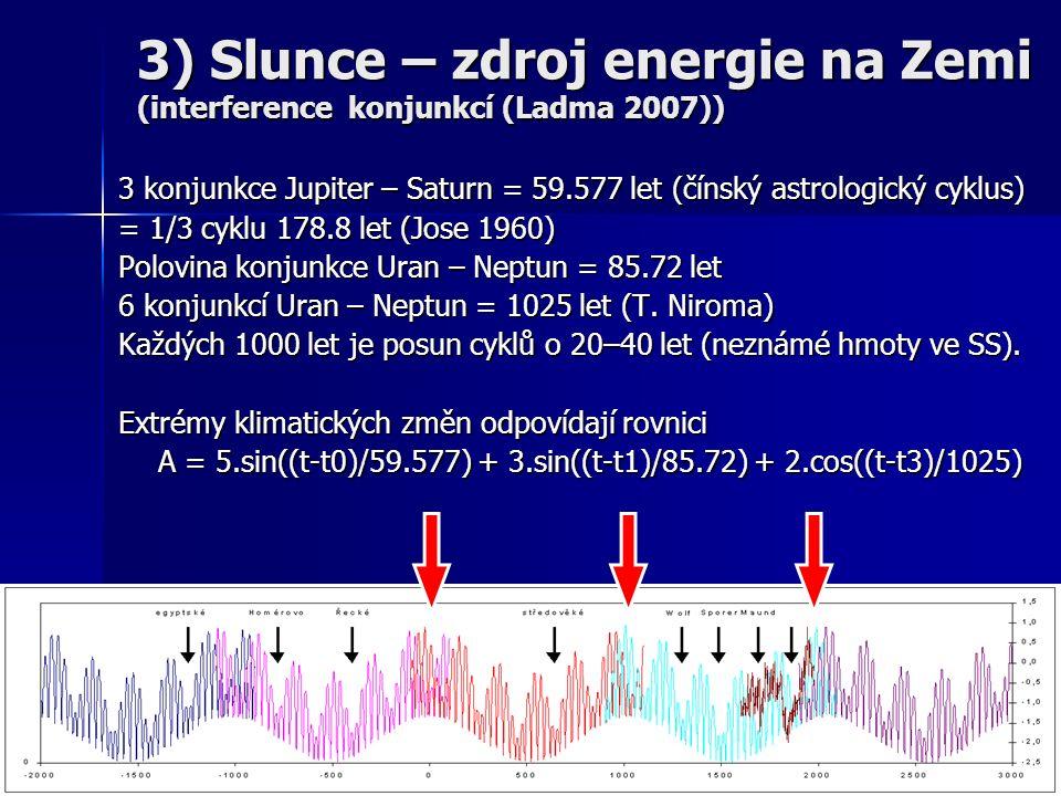 3 konjunkce Jupiter – Saturn = 59.577 let (čínský astrologický cyklus) = 1/3 cyklu 178.8 let (Jose 1960) Polovina konjunkce Uran – Neptun = 85.72 let 6 konjunkcí Uran – Neptun = 1025 let (T.
