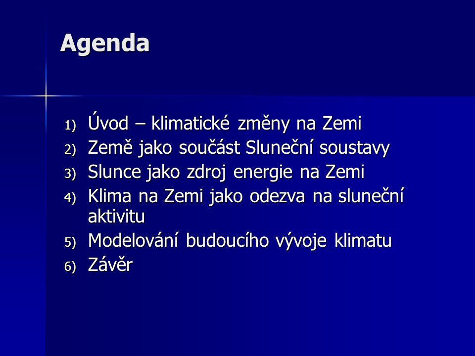 Agenda 1) Úvod – klimatické změny na Zemi 2) Země jako součást Sluneční soustavy 3) Slunce jako zdroj energie na Zemi 4) Klima na Zemi jako odezva na sluneční aktivitu 5) Modelování budoucího vývoje klimatu 6) Závěr