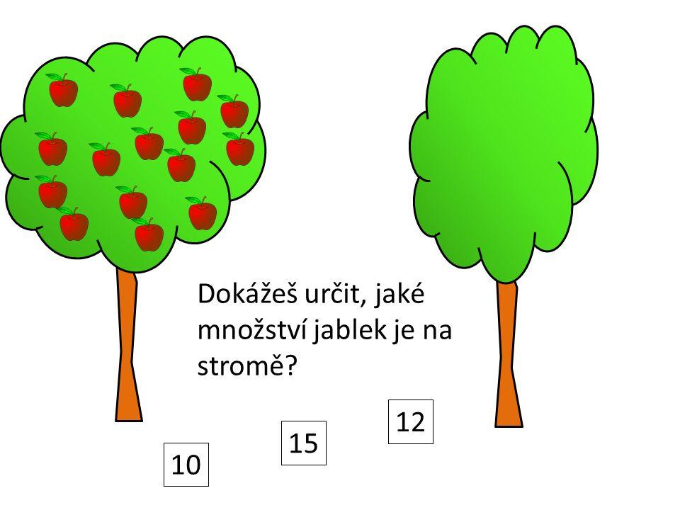 Dokážeš určit, jaké množství jablek je na stromě? 10 15 12