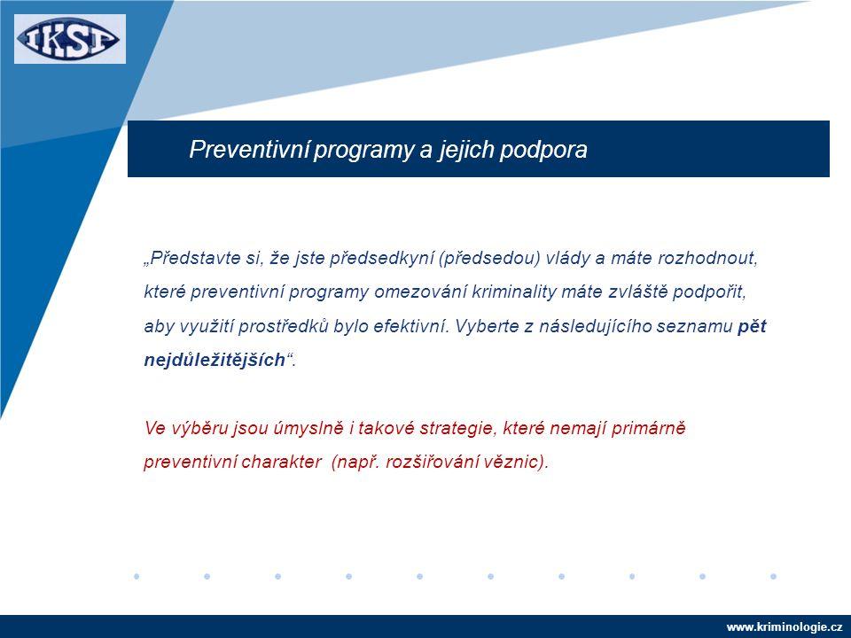 """www.kriminologie.cz Preventivní programy a jejich podpora """"Představte si, že jste předsedkyní (předsedou) vlády a máte rozhodnout, které preventivní programy omezování kriminality máte zvláště podpořit, aby využití prostředků bylo efektivní."""