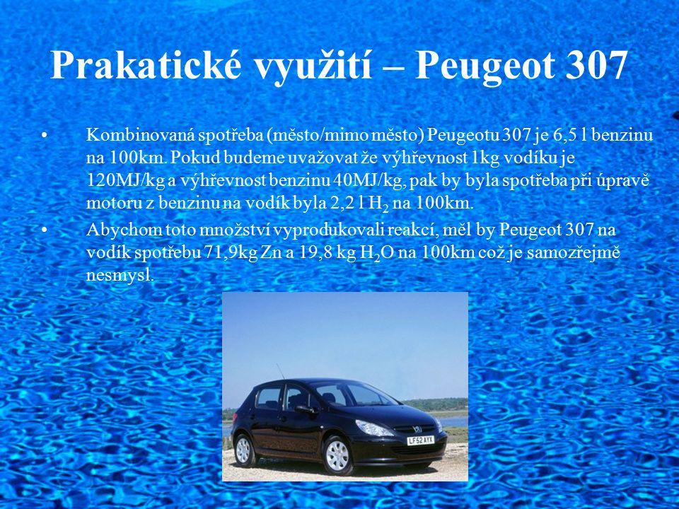 Prakatické využití – Peugeot 307 Kombinovaná spotřeba (město/mimo město) Peugeotu 307 je 6,5 l benzinu na 100km. Pokud budeme uvažovat že výhřevnost 1