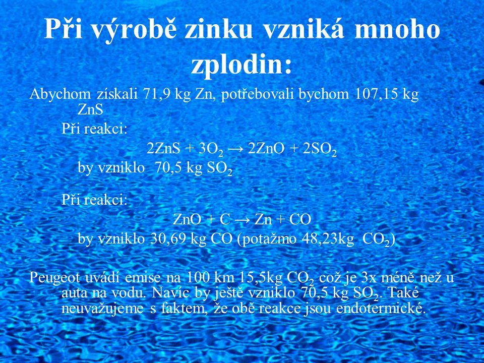 Při výrobě zinku vzniká mnoho zplodin: Abychom získali 71,9 kg Zn, potřebovali bychom 107,15 kg ZnS Při reakci: 2ZnS + 3O 2 → 2ZnO + 2SO 2 by vzniklo