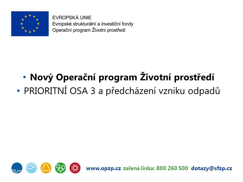 www.opzp.cz zelená linka: 800 260 500 dotazy@sfzp.cz Nový Operační program Životní prostředí PRIORITNÍ OSA 3 a předcházení vzniku odpadů