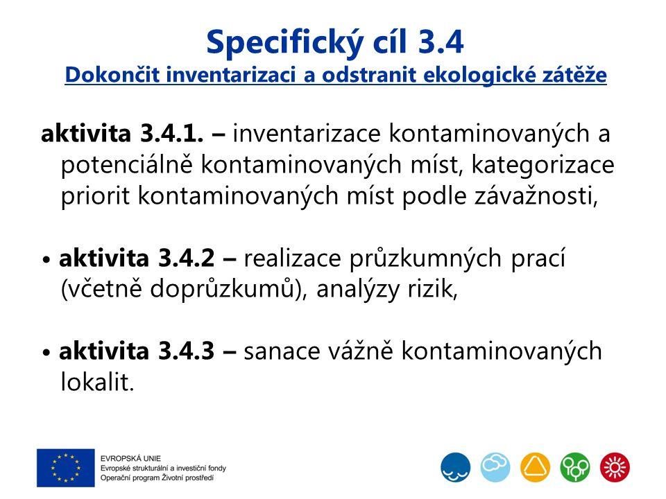 Specifický cíl 3.4 Dokončit inventarizaci a odstranit ekologické zátěže aktivita 3.4.1. – inventarizace kontaminovaných a potenciálně kontaminovaných