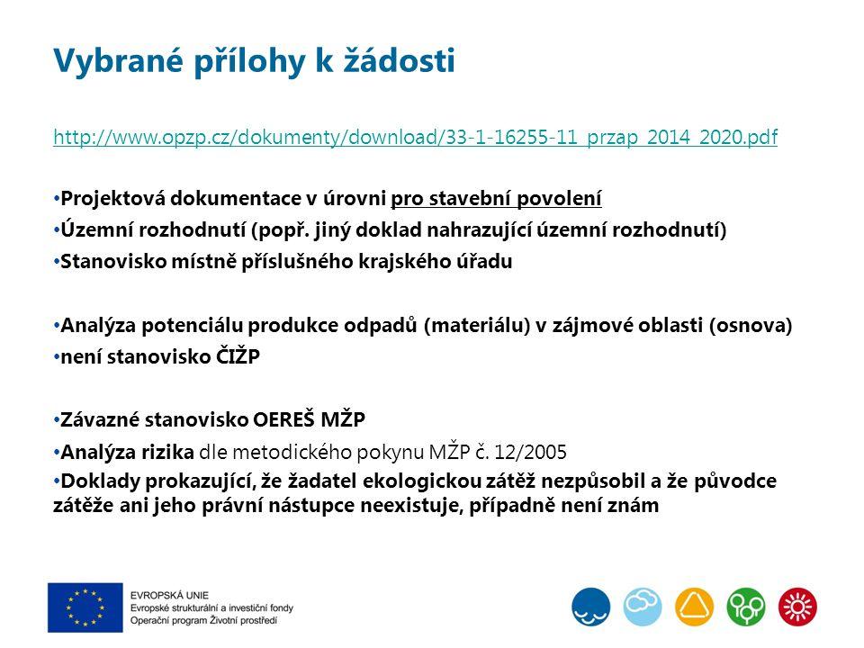 Vybrané přílohy k žádosti http://www.opzp.cz/dokumenty/download/33-1-16255-11_przap_2014_2020.pdf Projektová dokumentace v úrovni pro stavební povolení Územní rozhodnutí (popř.