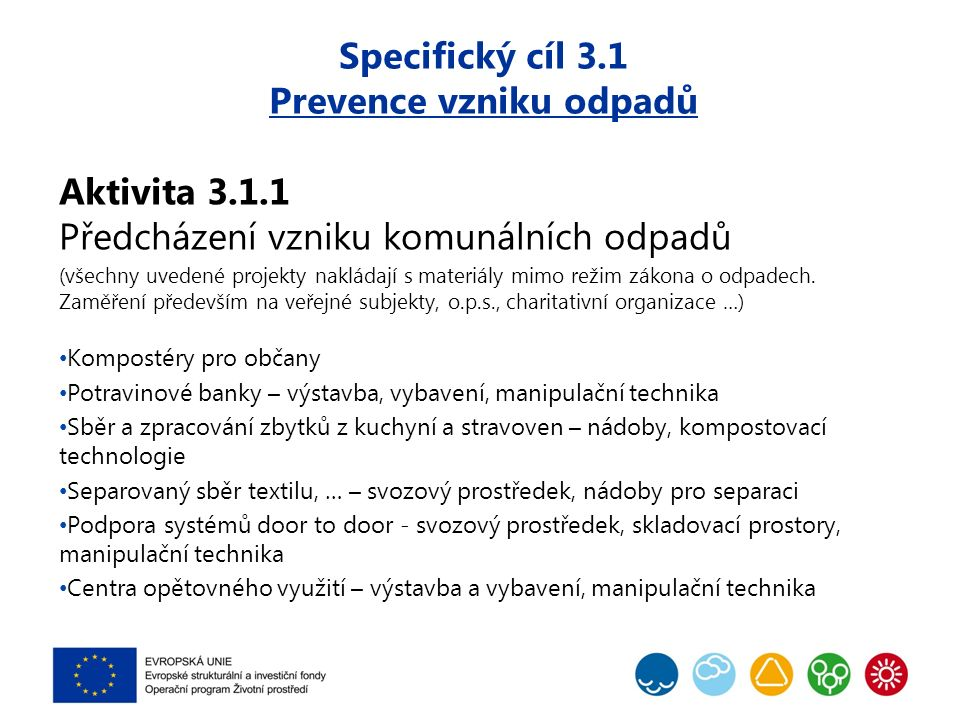Specifický cíl 3.1 Prevence vzniku odpadů Aktivita 3.1.1 Předcházení vzniku komunálních odpadů (všechny uvedené projekty nakládají s materiály mimo re