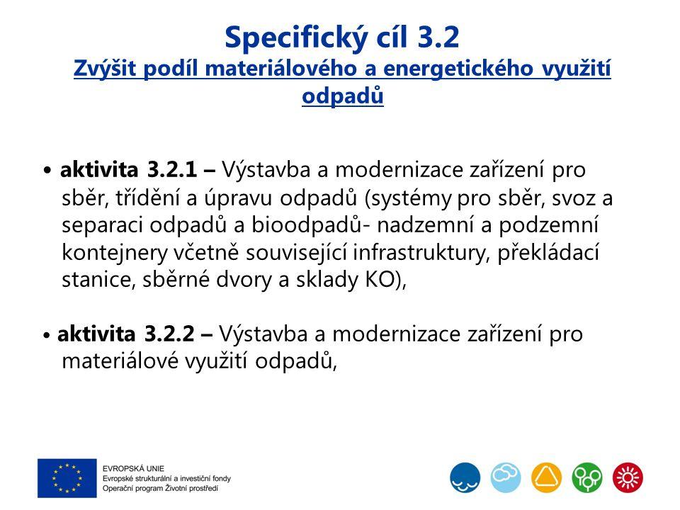 Specifický cíl 3.2 Zvýšit podíl materiálového a energetického využití odpadů Aktivita 3.2.3 – Výstavba a modernizace zařízení na energetické využití odpadů a související infrastruktury -BPS Schválení POH na EK -ZEVO, instalace kotlů na spalování odpadů v teplárnách (podmínka energetické účinnosti ≥ 0,65, CZT) -rekonstrukce zařízení pro spoluspalování odpadů -zařízení pro tepelné zpracování odpadů aktivita 3.2.4 – Výstavba a modernizace zařízení pro nakládání s nebezpečnými odpady včetně zdravotnických odpadů (vyjma skládkování).