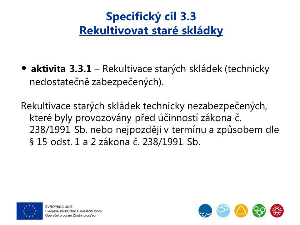 Specifický cíl 3.3 Rekultivovat staré skládky aktivita 3.3.1 – Rekultivace starých skládek (technicky nedostatečně zabezpečených). Rekultivace starých