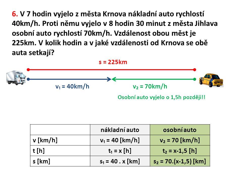 6. V 7 hodin vyjelo z města Krnova nákladní auto rychlostí 40km/h.