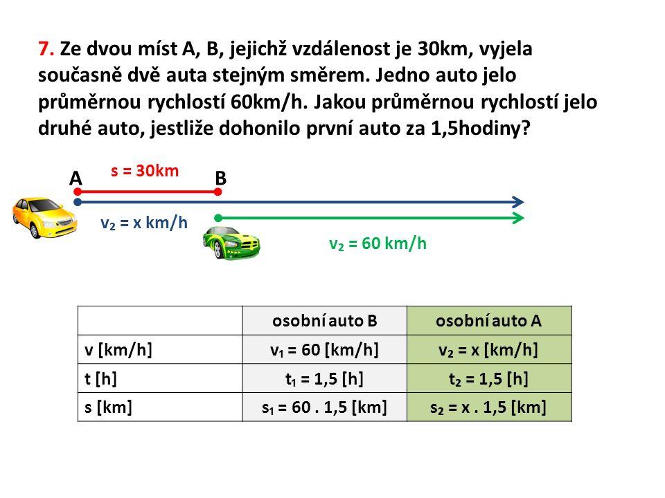 v₂ = x km/h v₂ = 60 km/h s = 30km osobní auto Bosobní auto A v [km/h]v₁ = 60 [km/h]v₂ = x [km/h] t [h]t₁ = 1,5 [h]t₂ = 1,5 [h] s [km]s₁ = 60.