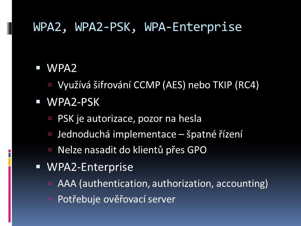 WPA2, WPA2-PSK, WPA-Enterprise  WPA2  Využívá šifrování CCMP (AES) nebo TKIP (RC4)  WPA2-PSK  PSK je autorizace, pozor na hesla  Jednoduchá implementace – špatné řízení  Nelze nasadit do klientů přes GPO  WPA2-Enterprise  AAA (authentication, authorization, accounting)  Potřebuje ověřovací server