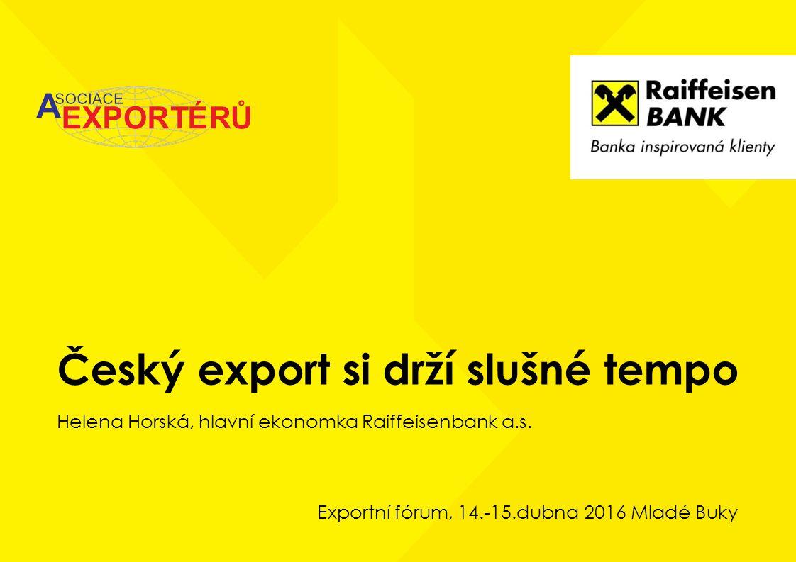 Český export si drží slušné tempo Helena Horská, hlavní ekonomka Raiffeisenbank a.s. Exportní fórum, 14.-15.dubna 2016 Mladé Buky